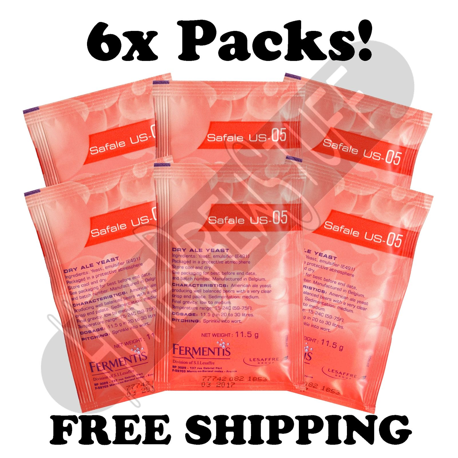 6 PK FERMENTIS SAFALE US-05 American Ale Home Beer Cider Brewing Yeast by HomeBrewStuff