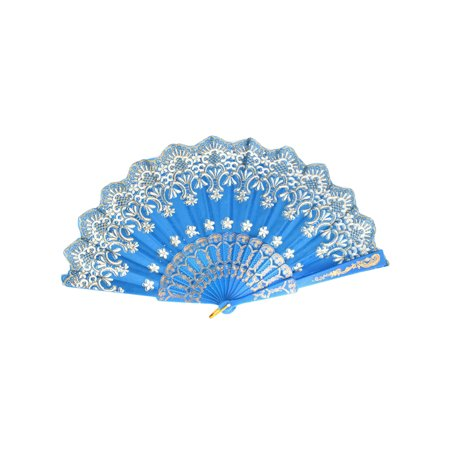 Unique Bargains Chinese Style Wedding Party Dancing Floral Printed Hand Held Fan Sky Blue](Chinese Hand Fan)