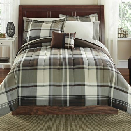 Mainstays Bed In A Bag Bedding Comforter Set Brown Plaid Multiple