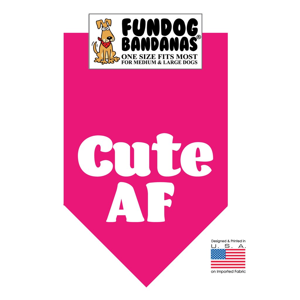Fun Dog Bandana -Cute AF - One Size Fits Most for Medium to Large Dogs, hot pink pet scarf