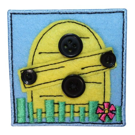 Bee Craft - ID 1720B Bee Hive Badge Patch Felt Button Craft Embroidered Iron On Applique