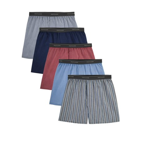Fruit of the Loom Men's Dual Defense Exposed Waistband Woven Boxers, 5 (Best Boxer Shorts Uk)