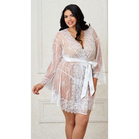 Long%20Sleeved%20Lace%20Kimono%20Robe%20W%2Feyelash%20Trim%20%26%20Attch.%20Satin%20Belt%20White%203x