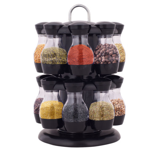 16 Jar Revolving Spice Rack Herb Rotating Countertop Storage Organization New by