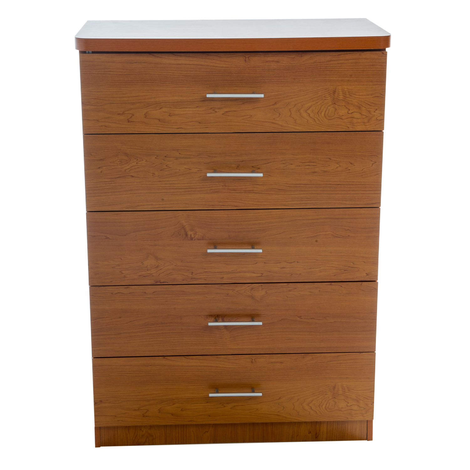 Home Source Liza 5 Drawer Chest with Chrome Bar Handles