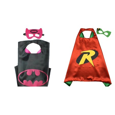 Batgirl & Robin Costumes - 2 Capes, 2 Masks with Gift Box by Superheroes - Robin Costume Mask