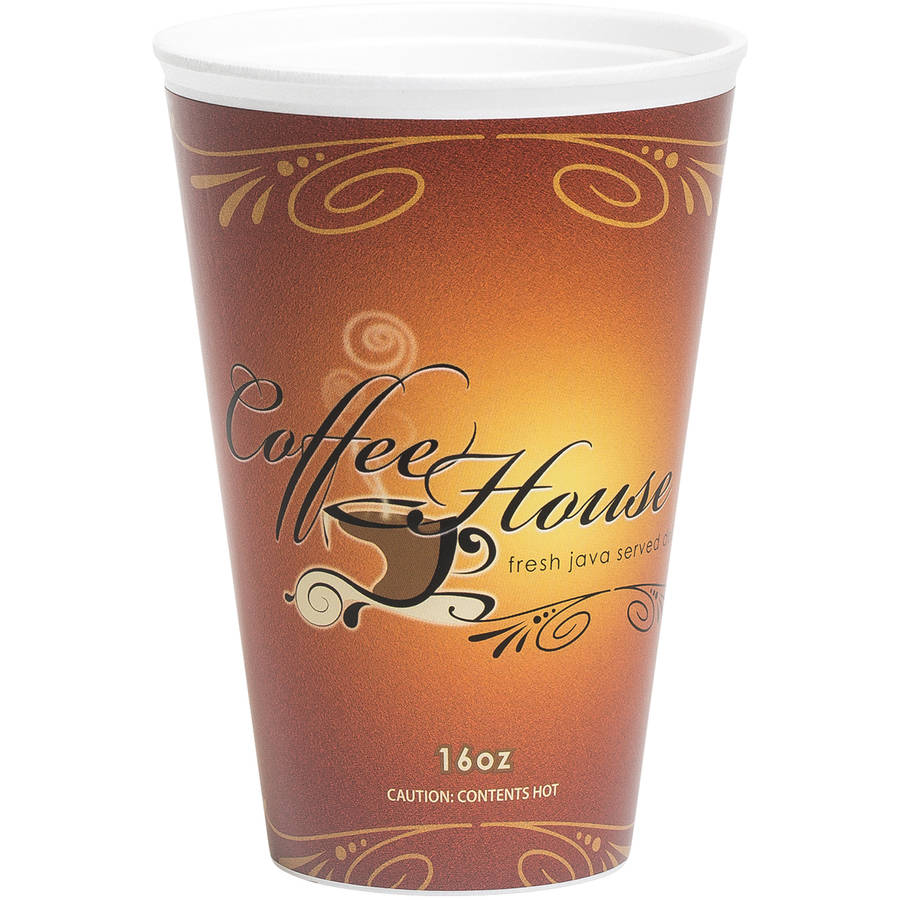 WinCup Marquee Coffee House Maroon 16 oz. Paper Wrapped Foam Cups, 500 count