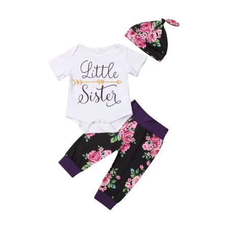 Sister Matching Big Little Sister Girl T-shirt Romper Top+ Floral Pants Outfit Set Clothes Little Sister 0-3 Months
