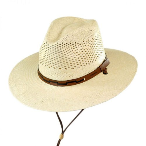 MEDIUM STETSON NATURAL AIRWAY PANAMA STRAW HAT W/ LEATHER...