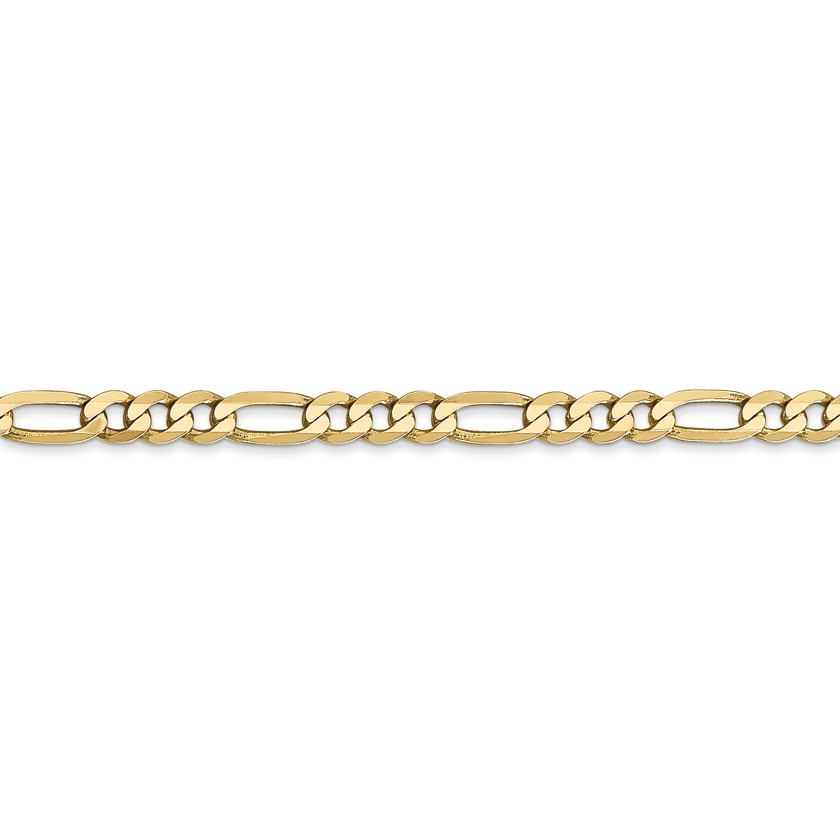 14k Yellow Gold 4mm Flat Link Figaro Bracelet Chain Beveled Fine Jewelry Gifts For Women For Her - image 3 of 4