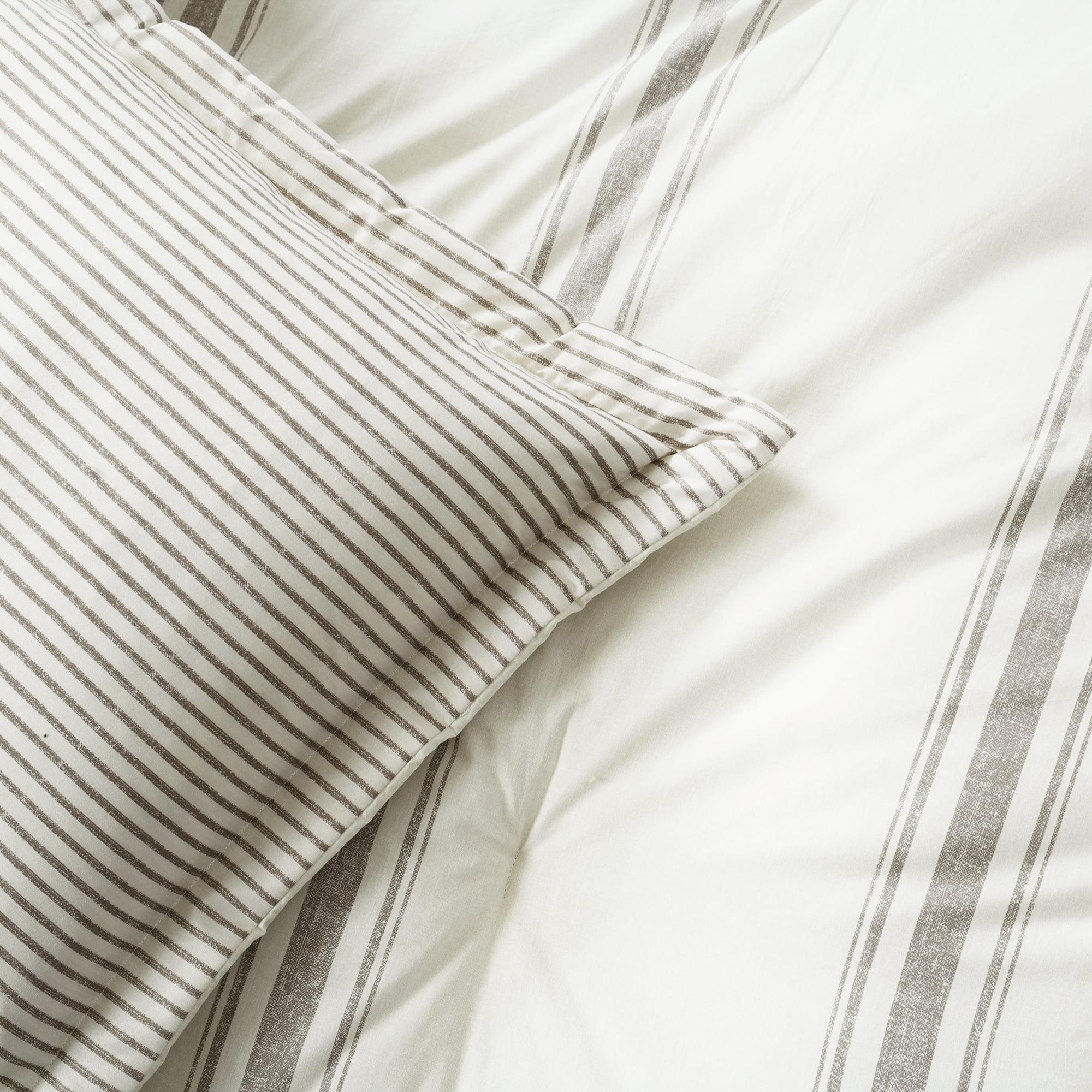 Lush Decor Farmhouse Grey Stripe 3 Piece Comforter Set Full Queen Walmart Com Walmart Com