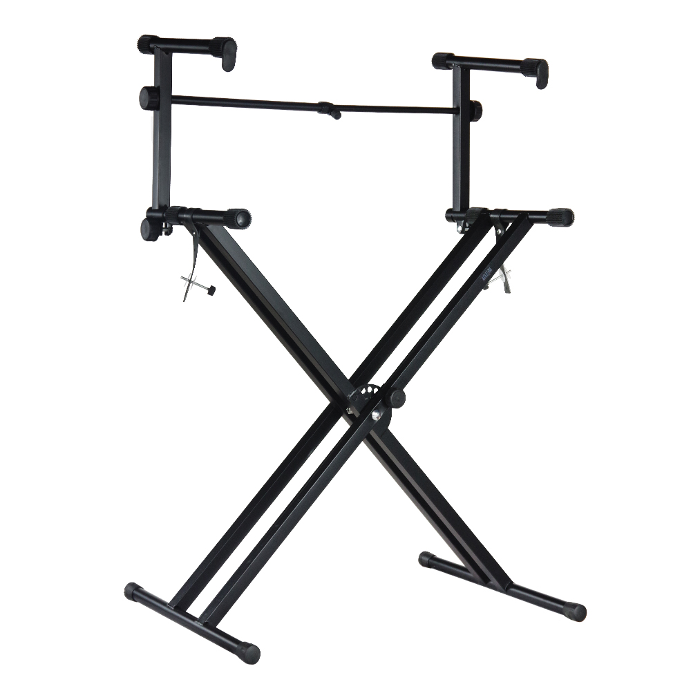 Loadstone Studio Pro Series Portable 2 Tier Doubled Keyboard Stand with Locking Straps , Two-Tier , WMLS2283