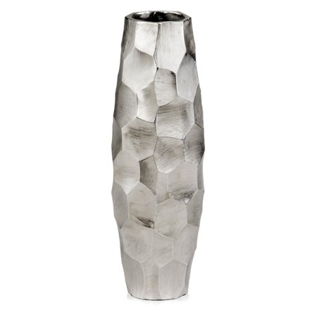 Modern Day Accent Faceado Barrel Silver Vase