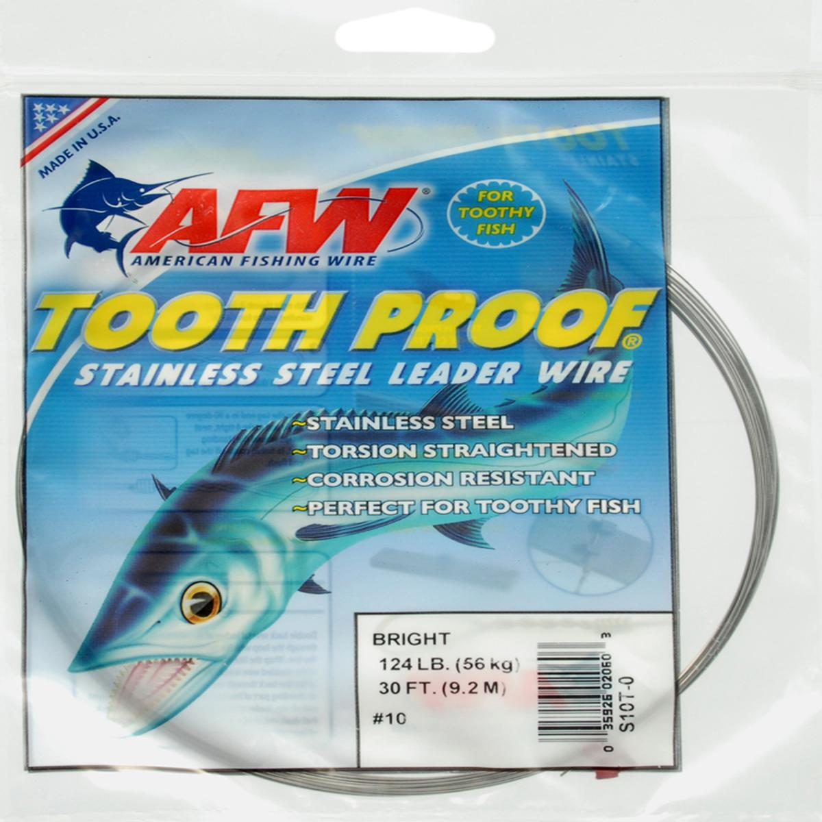 AFW Tooth Proof Stainless Steel Leader Single Strand Wire 124LB Test 30FT BRIGHT