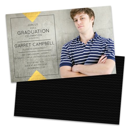 Personalized Gold and Black Triangle Graduation - Black And Gold Graduation Invitations