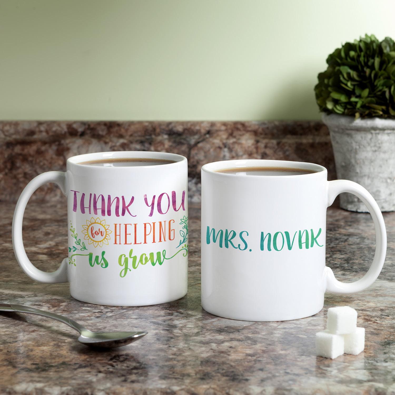 Personalized Teacher Coffee Mug - Thank You For Helping Us Grow