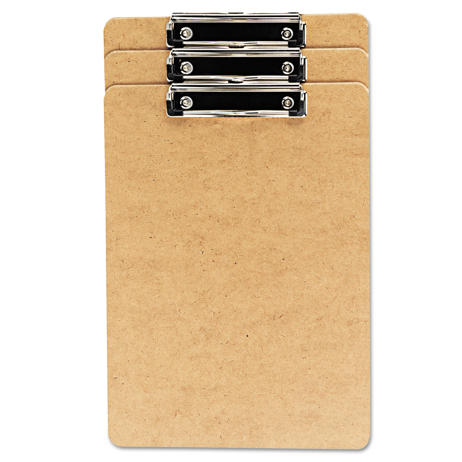 "Universal Hardboard Clipboard, 1/2"" Capacity, Holds 8 1/2w x 14h, Brown, 3/Pack -UNV05563"