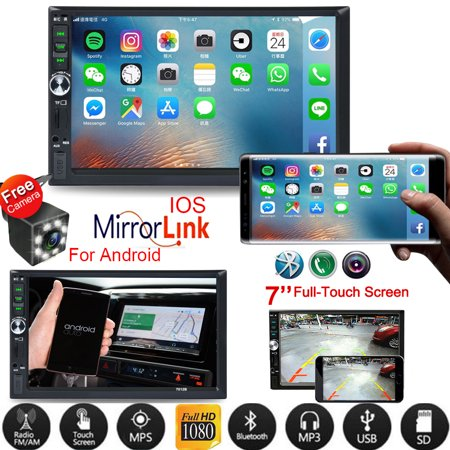 Vehicle Car Stereo Car Radio 7 Inch Touch Screen Double Din Car Audio Bluetooth MP5 Player with Reverse Camera And Mirror Link(Both Support IOS and Android System) (Stereo Systems For Cars)