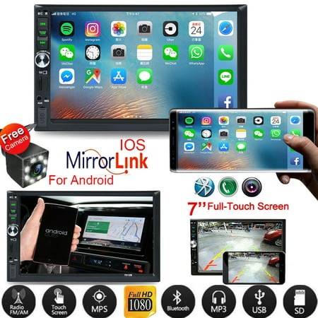 Vehicle Car Stereo Car Radio 7 Inch Touch Screen Double Din Car Audio Bluetooth MP5 Player with Reverse Camera And Mirror Link(Both Support IOS and Android (Best Double Din Stereo For Android)