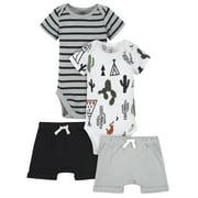 Modern Moments by Gerber Baby Boy Bodysuits & Shorts Set, 4 Piece, Newborn-12 Months