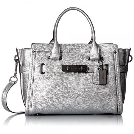 Coach Womens Pebbled Leather Coach Swagger 27 Dk Silver Satchel