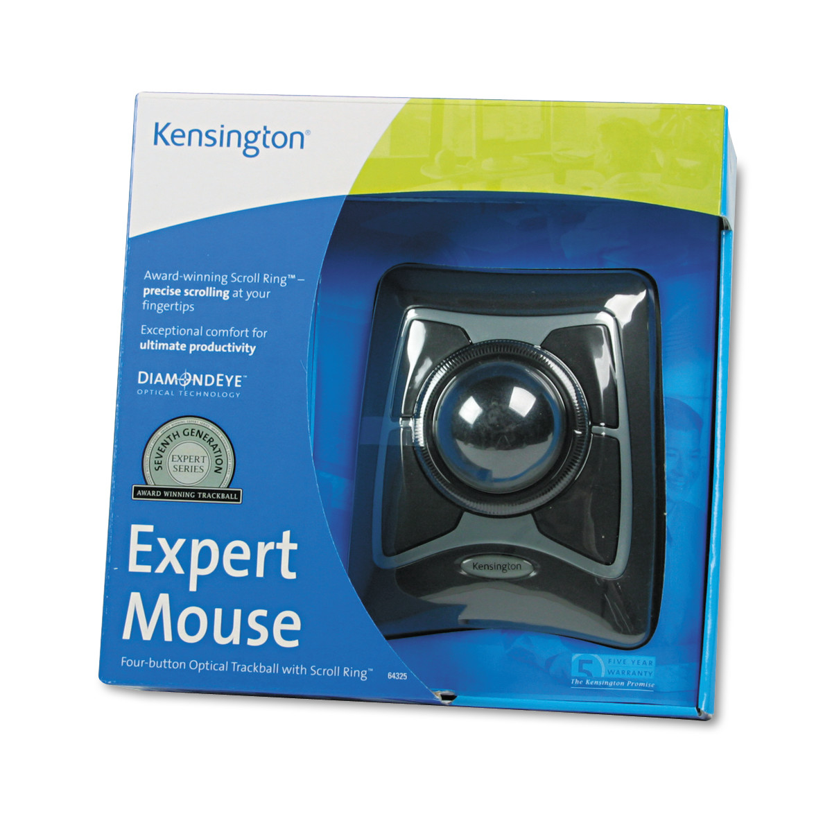 Kensington Expert Mouse Wired Trackball, Scroll Ring, Black Silver by Kensington