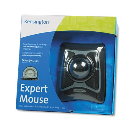 Trac Trackball - Kensington Expert Mouse Wired Trackball, Scroll Ring, Black/Silver
