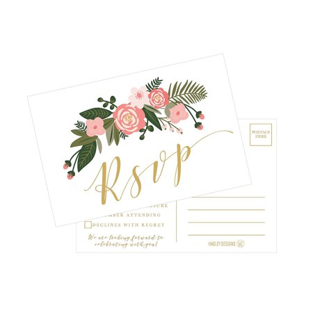 50 Blank Gold Floral RSVP Cards, RSVP Postcards No Envelopes Needed, Response Card, RSVP Reply, RSVP kit for Wedding, Rehearsal, Baby Bridal Shower, Birthday, Plain Bachelorette Party Invitations Golden Wedding Anniversary Invitations