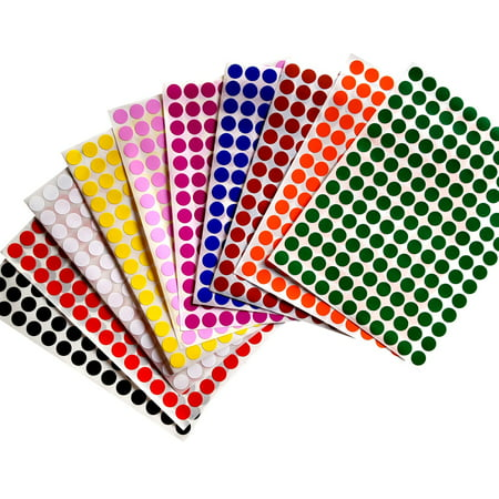 Color Dot Stickers (Color Coding Labels 3/8 Rounds 10 mm Dot Stickers - 10 Different Label - three eights inch rounds -3080)