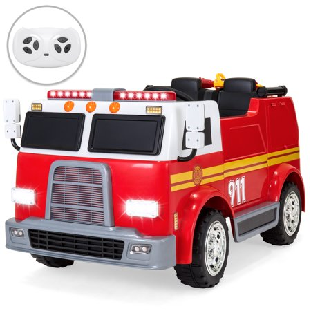 Best Choice Products 12V RC Fire Truck Ride On w/ USB Port, LED Lights and Sounds,