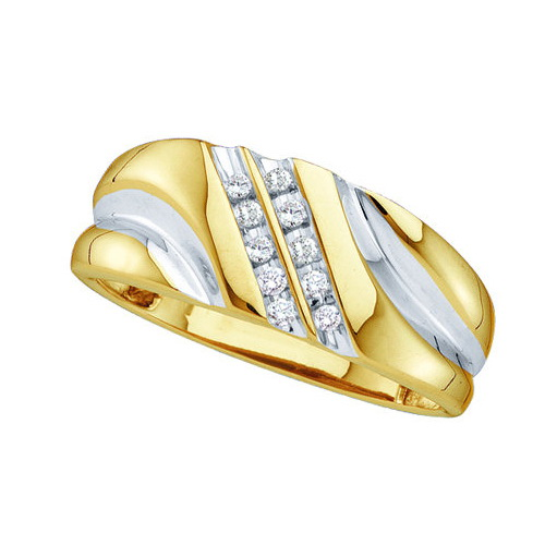 Rhodium-Plated-Silver 0.12ct Fancy Channel Diamond Mens 2 Row Diagonal Band Ring