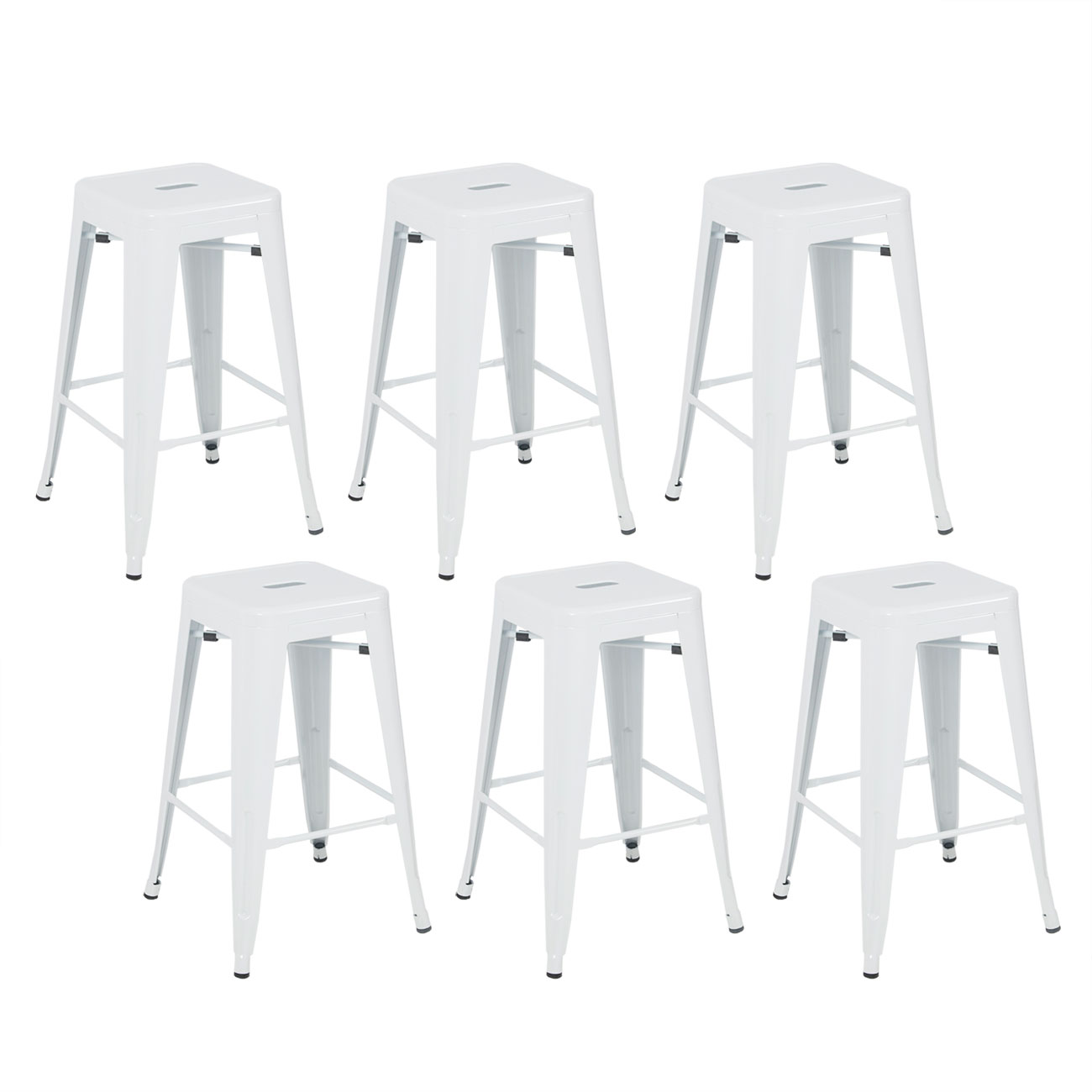"Belleze Stackable Glossy Metal 26"" Metal Barstool, White (Set of 6)"