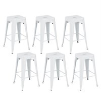 "Belleze Stackable Glossy Metal 26"" Metal Bar Stool, White (Set of 6) by Belleze"
