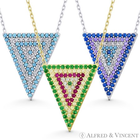 Upside-Down Triangle Charm CZ Crystal Pave Pendant & Necklace in .925 Sterling Silver