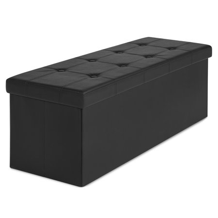 Best Choice Products Faux Leather Space Saving Folding Storage Ottoman Foot Rest Stool Seat Padded Bench w/ Inner Divider, 300lbs Weight Capacity - Black ()