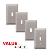 Value 4-Pack Toggle Light Switch Wall Plate Decorative, Brushed Nickel