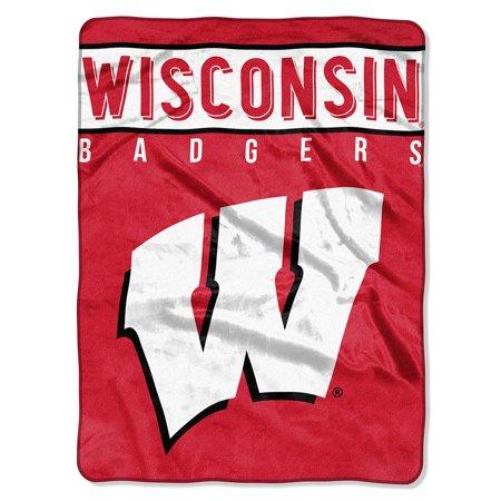Wisconsin Badgers NCAA Royal Plush Raschel Blanket (Basic Series) (60x80) (Wisconsin Blanket)