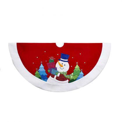- Kurt Adler 48-Inch Red and White Velvet Glittered Snowman Tree Skirt