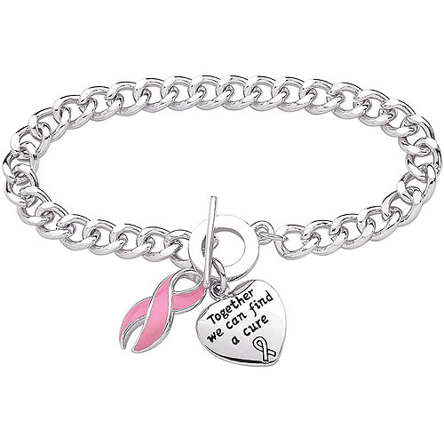 Silver-Plated Breast Cancer Awareness Bracelet, 7.5""