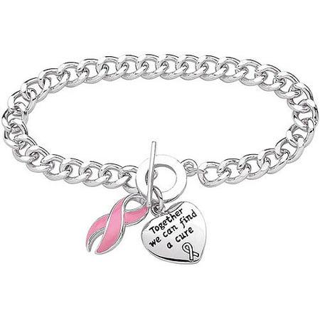 Silver-Plated Breast Cancer Awareness Bracelet, 7.5