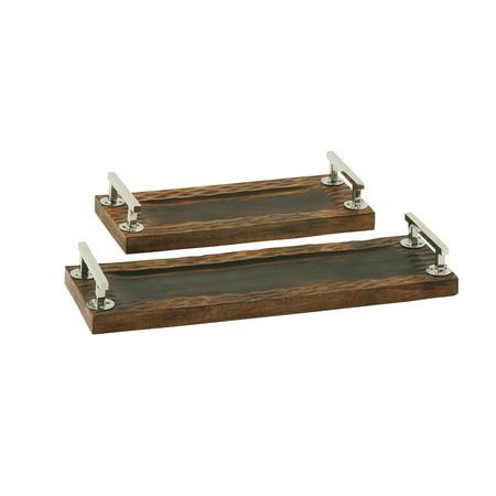 Dark Finish Wood Steel Tray Set Of 2 ()