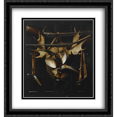 Trophies of the Hunt 2x Matted 28x30 Large Black Ornate Framed Art Print by Pope, Alexander](Playroom Trophies)