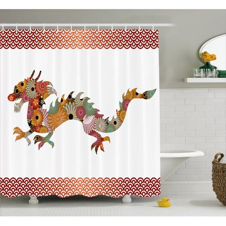 Dragon Shower Curtain, Floral Ornamental Dragon Body Silhouette with Classic Japanese Wavy Folk Pattern, Fabric Bathroom Set with Hooks, 69W X 70L Inches, Multicolor, by Ambesonne (Japanese Fabric Patterns)