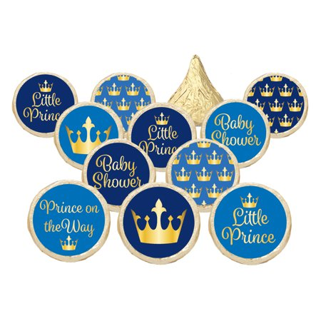 Little Prince Royal Baby Shower Party Favor Stickers   Gold And Blue  Set Of 324