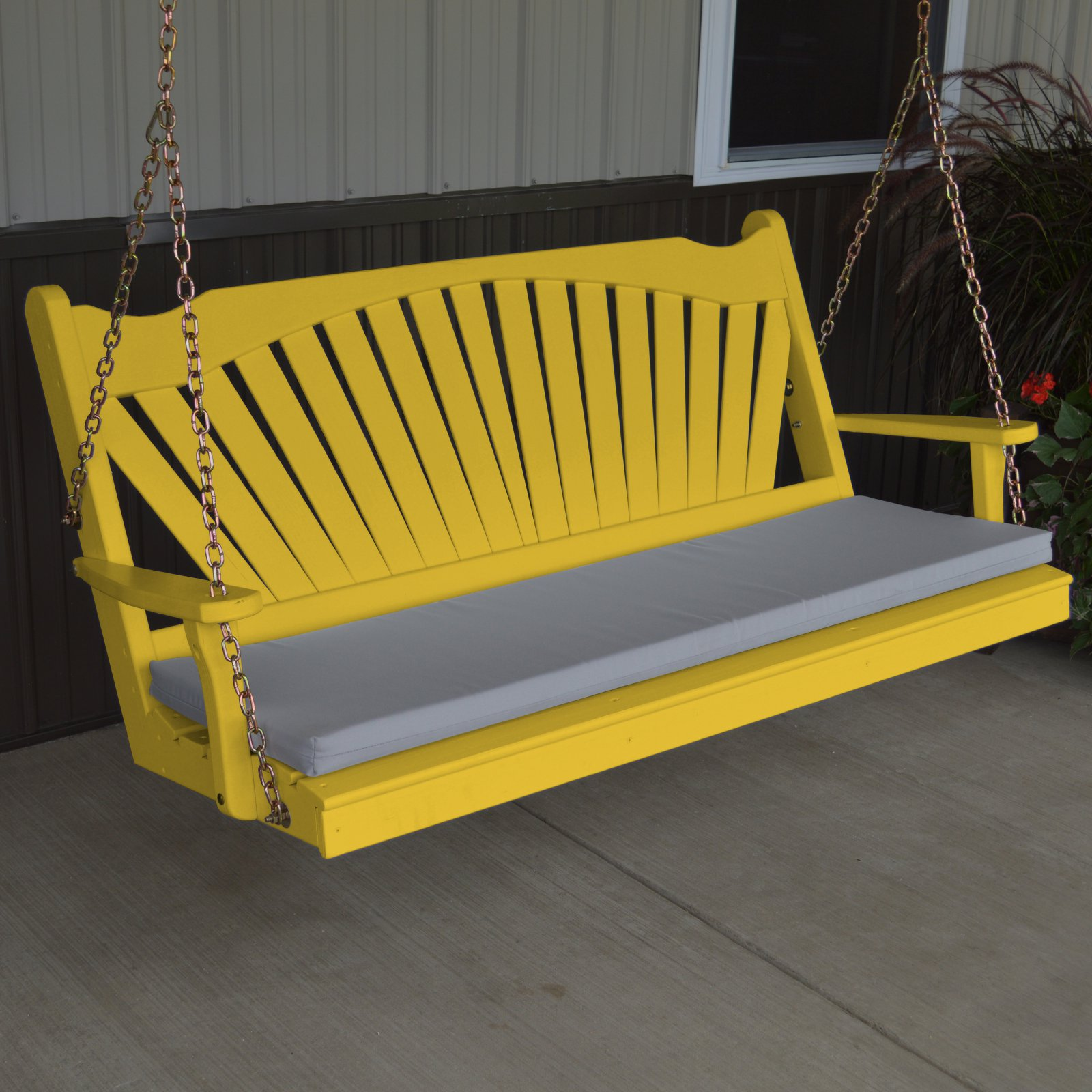 A & L Furniture Yellow Pine Fanback Porch Swing by A and L Furniture Co