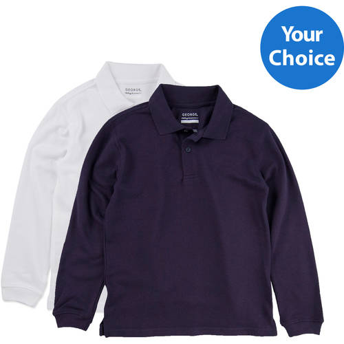 George Boys School Uniforms Approved Long Sleeve Polo Shirts 2-Pack Value Bundle