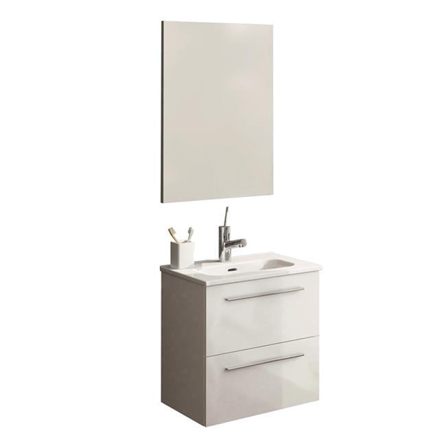 Royo Usa 123150 20 Inch 2 Drawers Street Bathroom Vanity Set With Sink And Mirror White Walmart Com Walmart Com