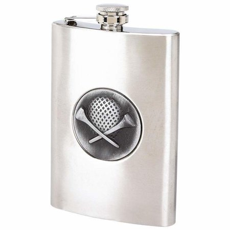 8 Ounce Stainless Steel Flask with Golf Emblem