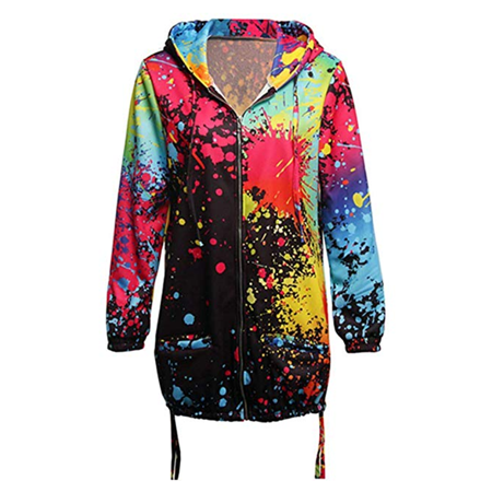 Women Colorful Long Sleeve Hooded Trench Parka Jackets Windbreaker Loose Outwear Coat ()