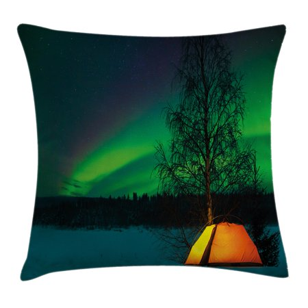 Northern Lights Throw Pillow Cushion Cover, Camping Tent under Magnetic Field Nature Picture, Decorative Square Accent Pillow Case, 16 X 16 Inches, Lime Green Dark Blue Earth Yellow, by Ambesonne